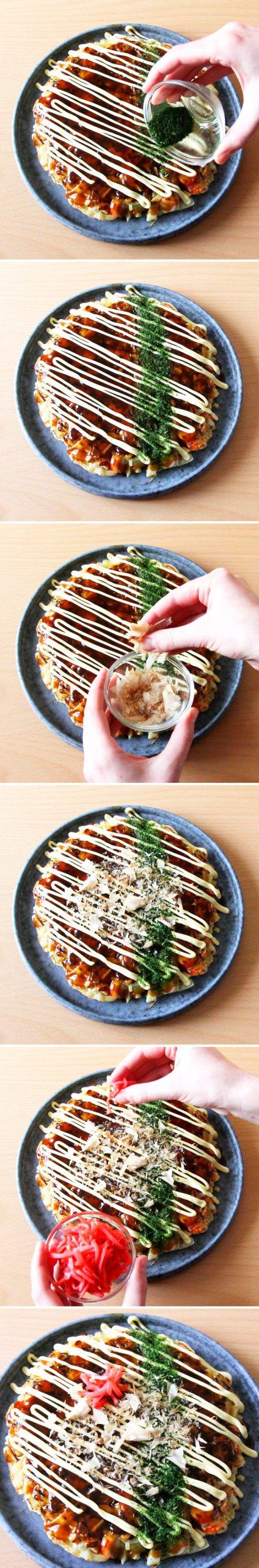 Grundrezept Okonomiyaki Schritt 9 garnieren