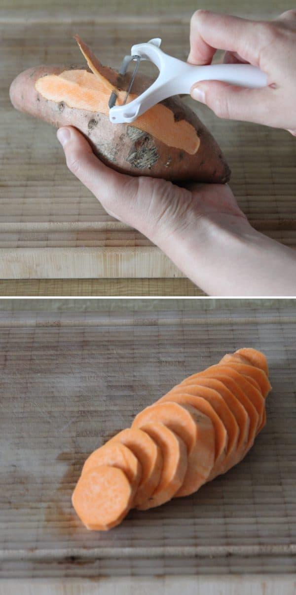 Rezept Tempura Süßkartoffel vorbereiten
