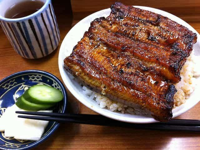 Donburi – Unadon mit Rohkost und Tee.