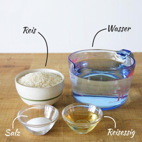 Reis kochen Zutaten