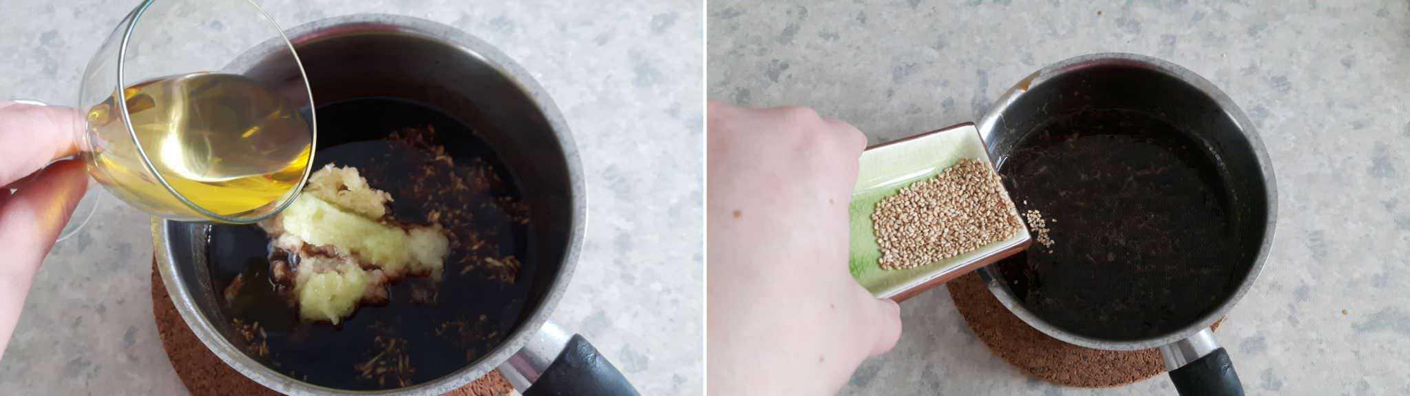 Teppanyaki Grillsoße Schritt 5 Sesamöl und Sesam hinzufügen