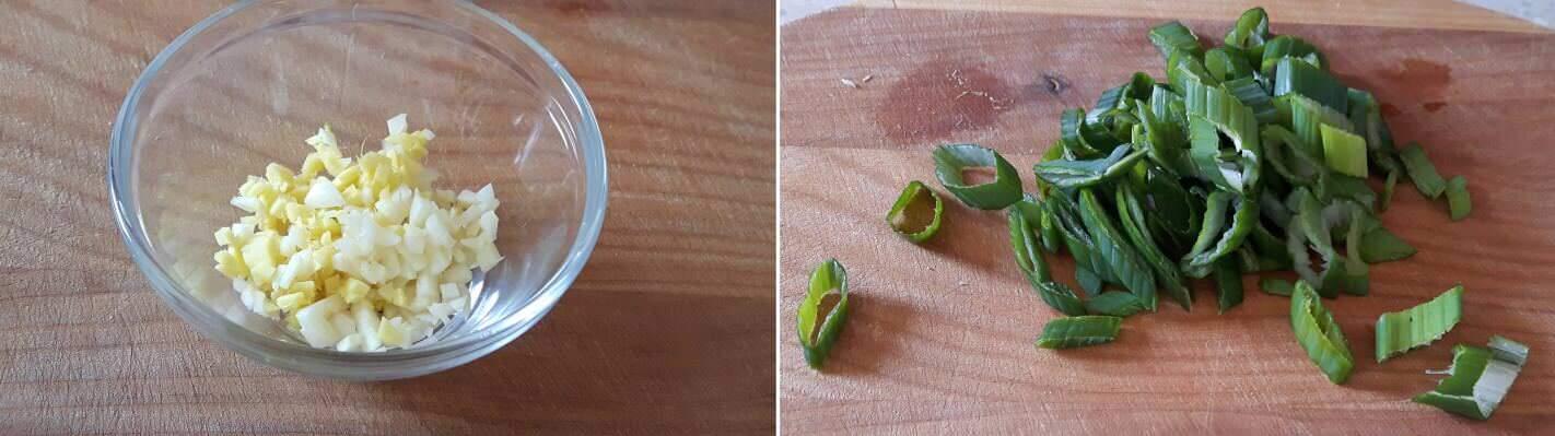 Frittierte Aubergine Schritt 2 Knoblauch, Ingwer und Frühlingszwiebel schneiden
