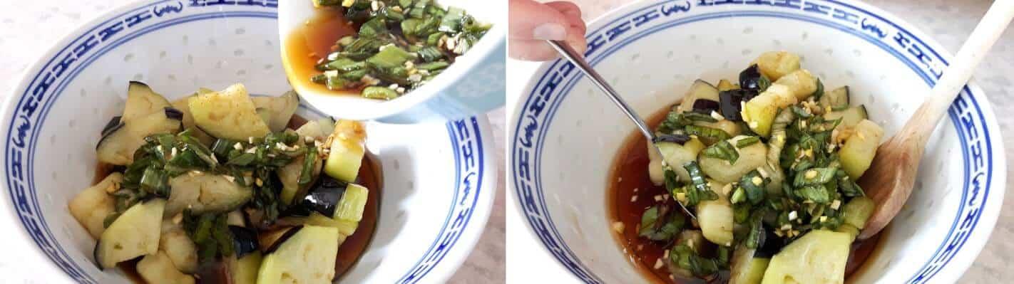 Frittierte Aubergine Schritt 7 Aubergine mit Soße mischen