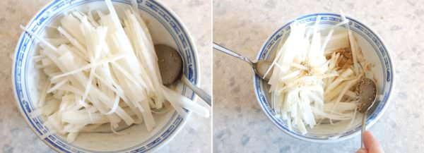 Japanischer Rettichsalat Schritt 4 Salat anmachen