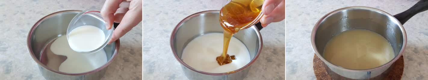 Kasutera Schritt 3 Milch-Honig-Mischung