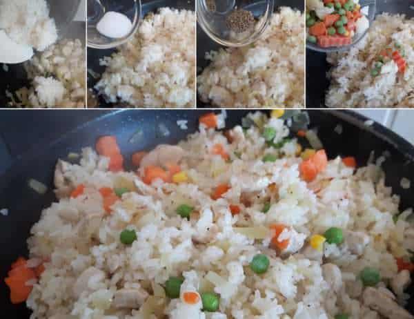 Schnelles Omuraisu Schritt 4 Reis und Gemüse braten
