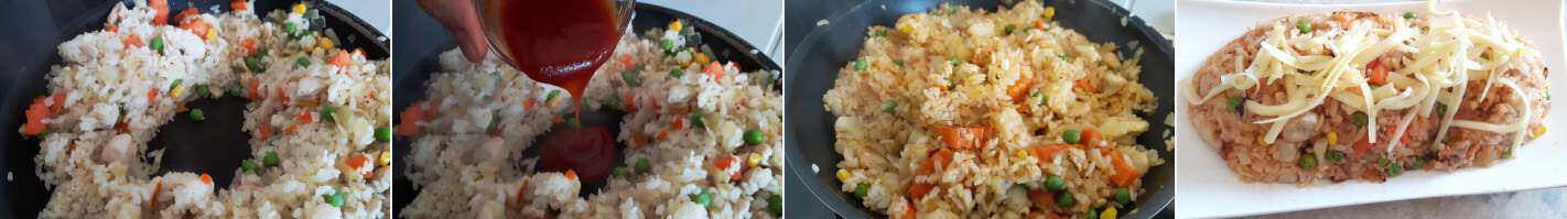 Schnelles Omuraisu Schritt 6 Reis mit Ketchup mischen