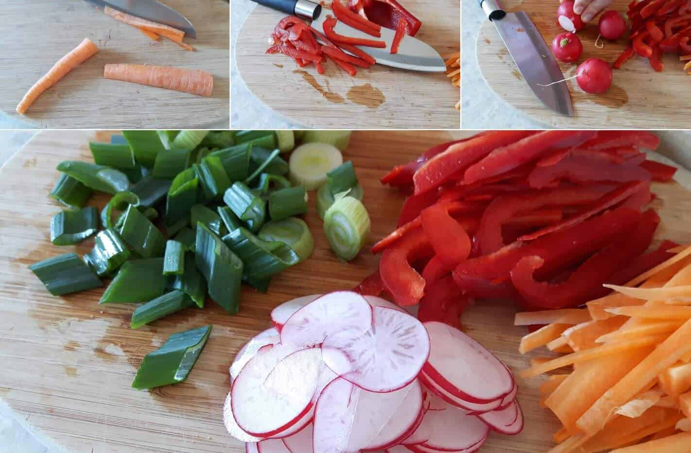 Soba-Nudelsalat Schritt 3 Gemüse schneiden