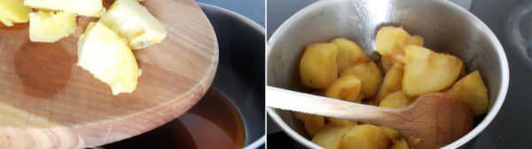 Kartoffeln mit süßem Soja-Butterdressing Schritt 5 Kartoffeln im Dressing braten.