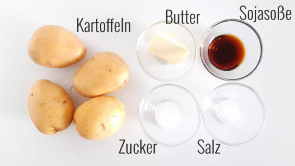 Kartoffeln mit süßem Soja-Butterdressing Zutaten.