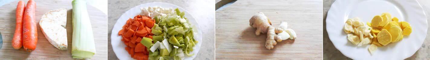 Vegetarische Shoyu Ramen Schritt 2 Zutaten zerschneiden