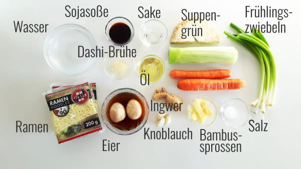 Vegetarische Shoyu Ramen Zutaten