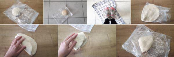 Selbstgemachte Udon Nudeln Schritt 3 mit Füßen kneten