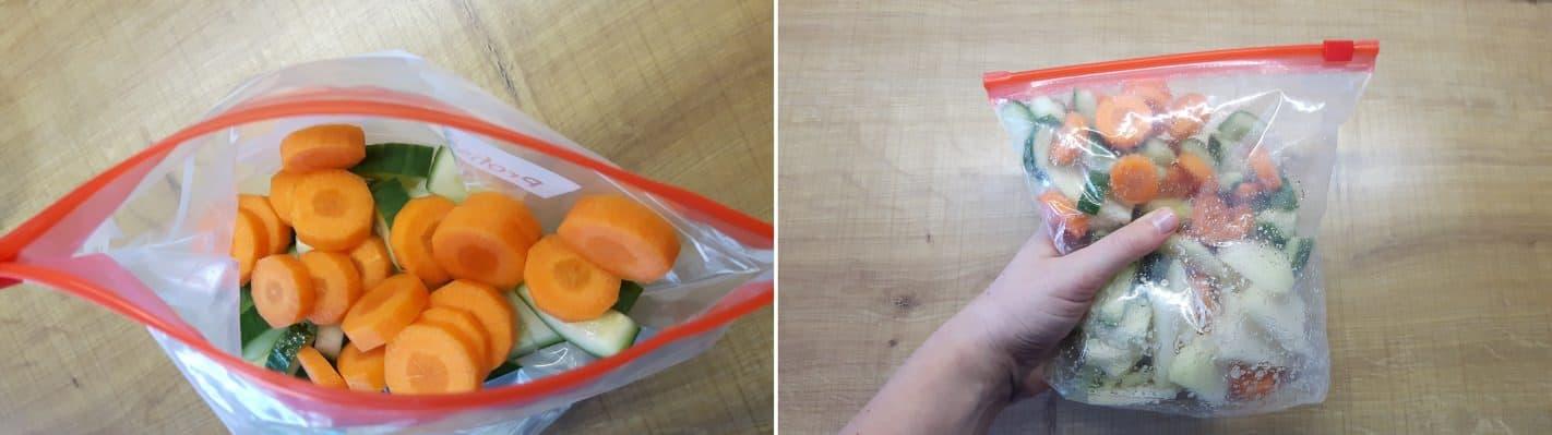 Tsukemono Schritt 3 Gemüse würzen.