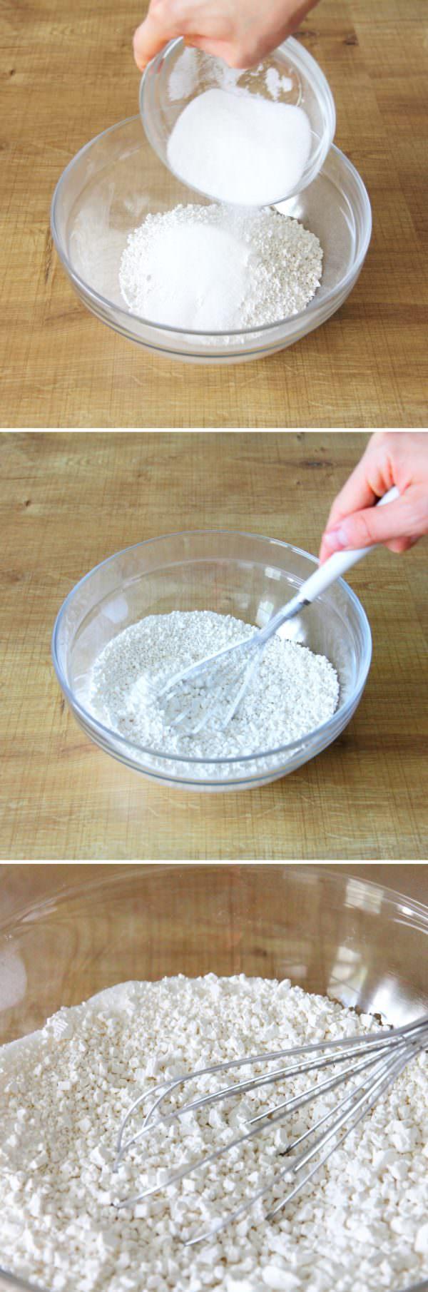 Daifuku Mochi Schritt 2 Mehl und Zucker verrühren