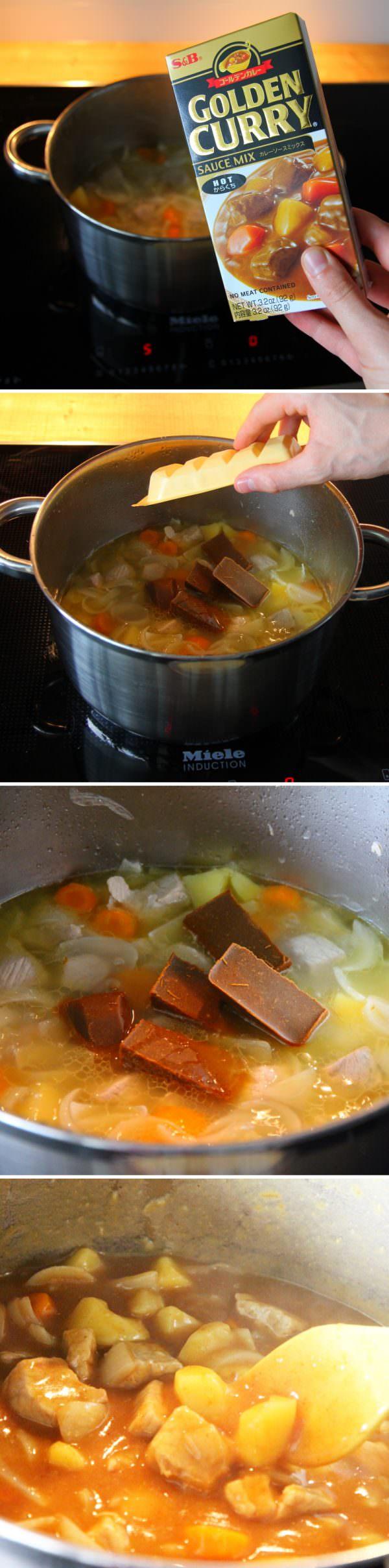Kare Raisu Schritt 6 Currywürfel einrühren
