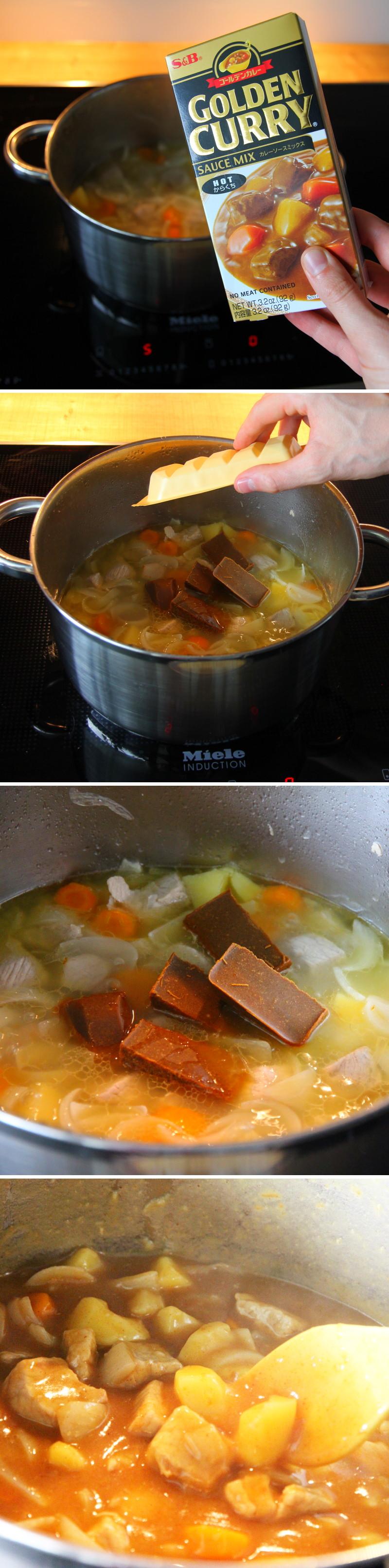 Kare Raisu Schritt 7 Currywürfel einrühren