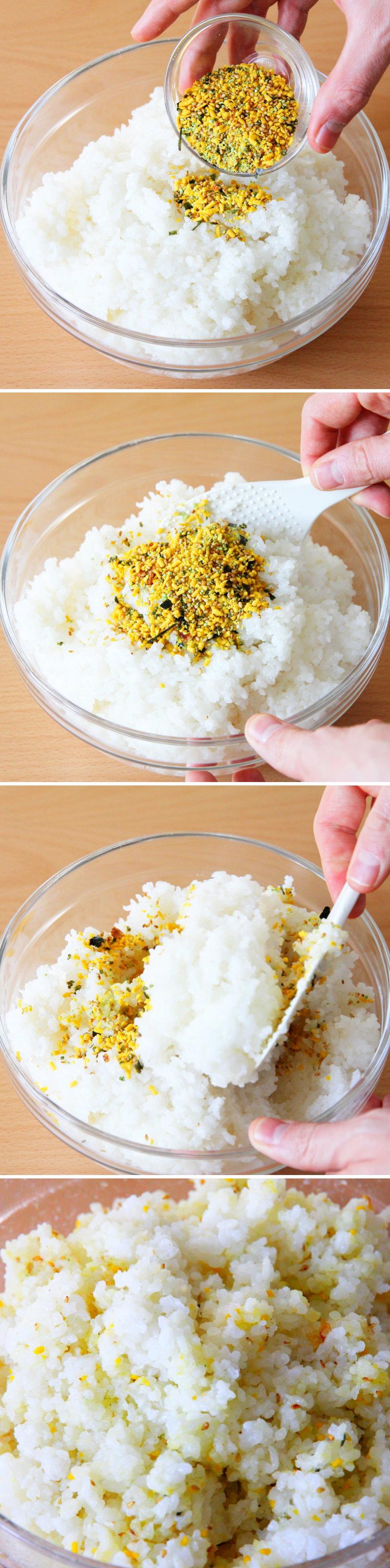Onigiri mit Furikake Schritt 2 Reis würzen
