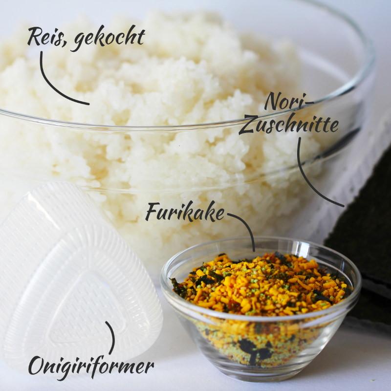Onigiri mit Furikake Zutaten