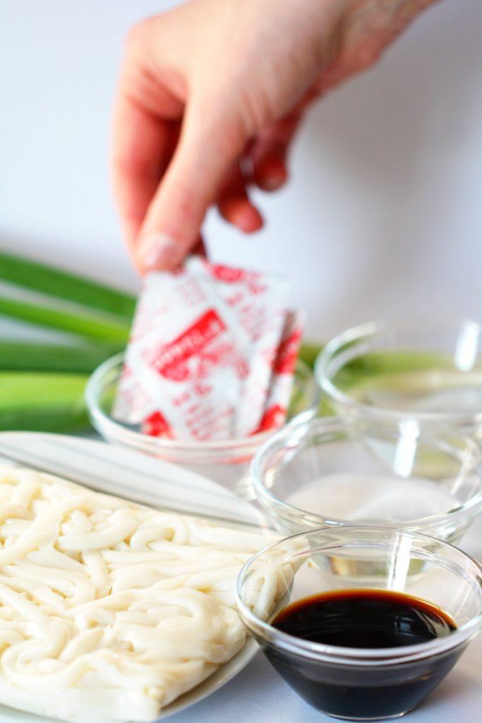 Mit Udon Nudeln kochen