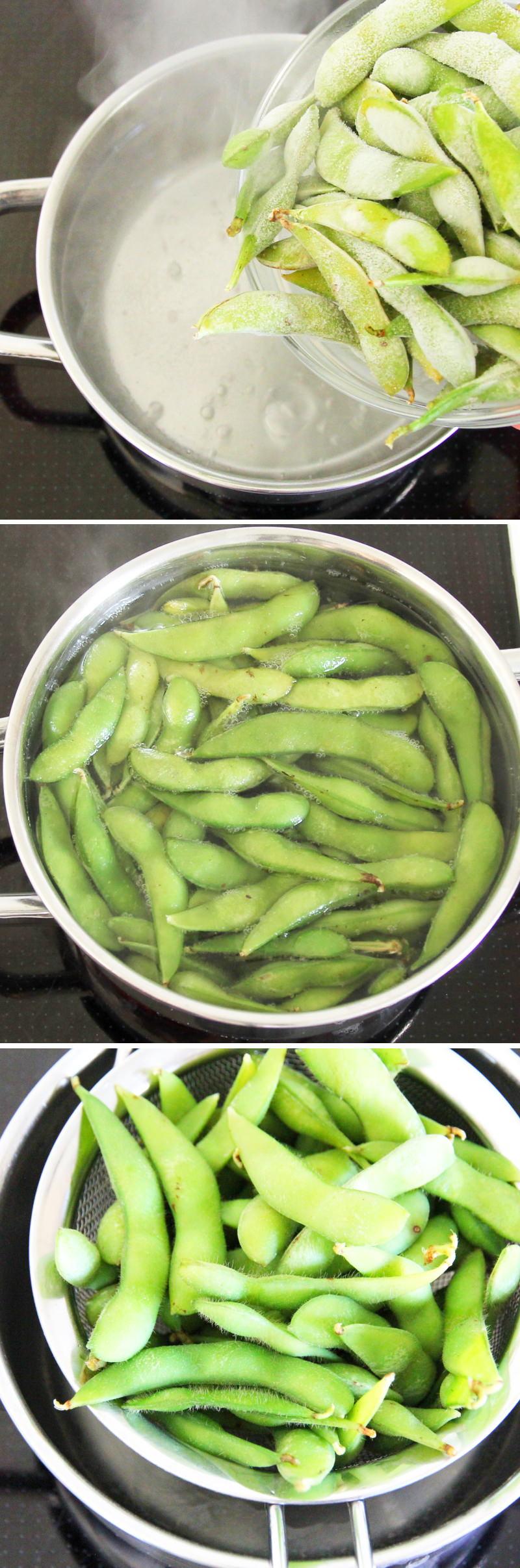 Edamame mit Chiliöl und Knoblauchflocken Schritt 3 Sojabohnen kochen
