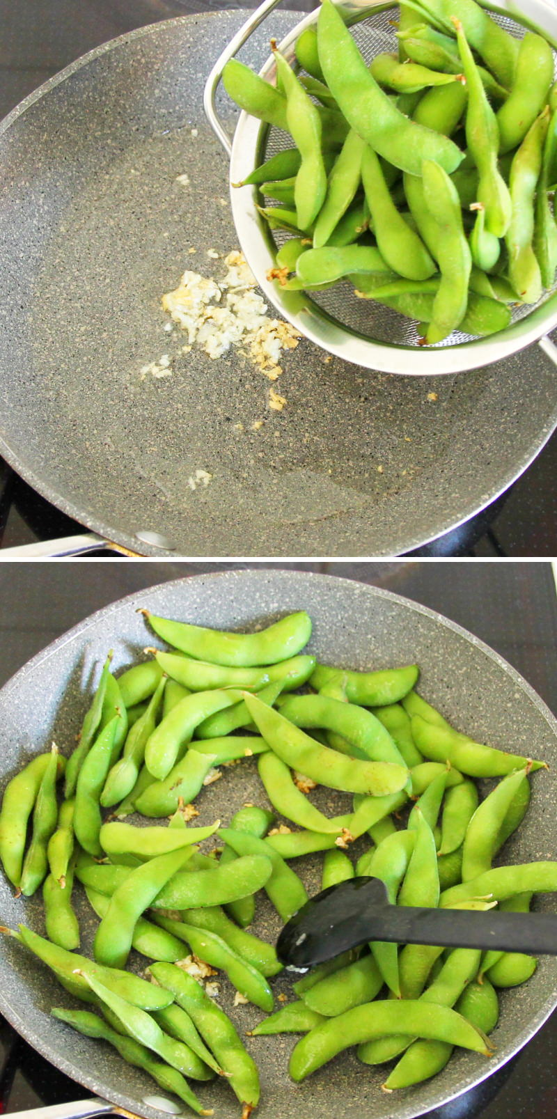Edamame mit Chiliöl und Knoblauchflocken Schritt 6 Edamame braten