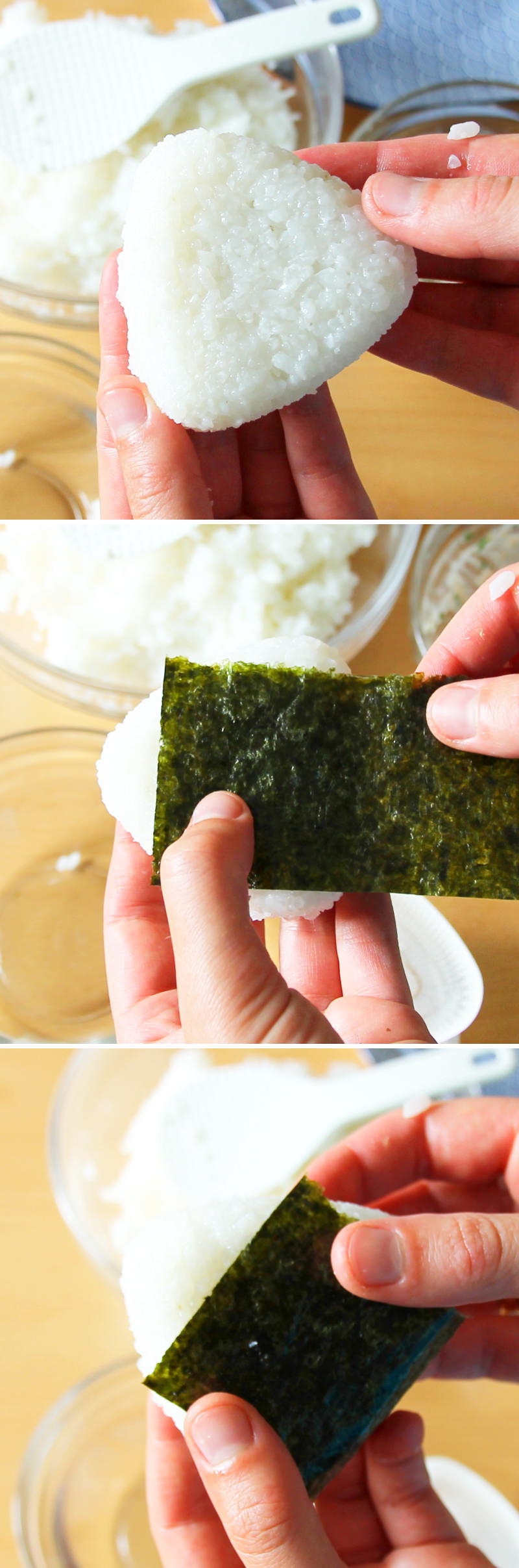 Onigiri mit Lachs Schritt 8 Reisdreiecke mit Nori umwickeln