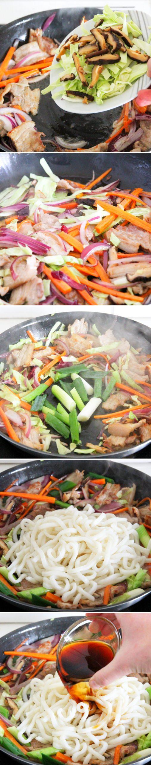 Yaki Udon Schritt 9 Gemüse anbraten und mit Mentsuyu ablöschen