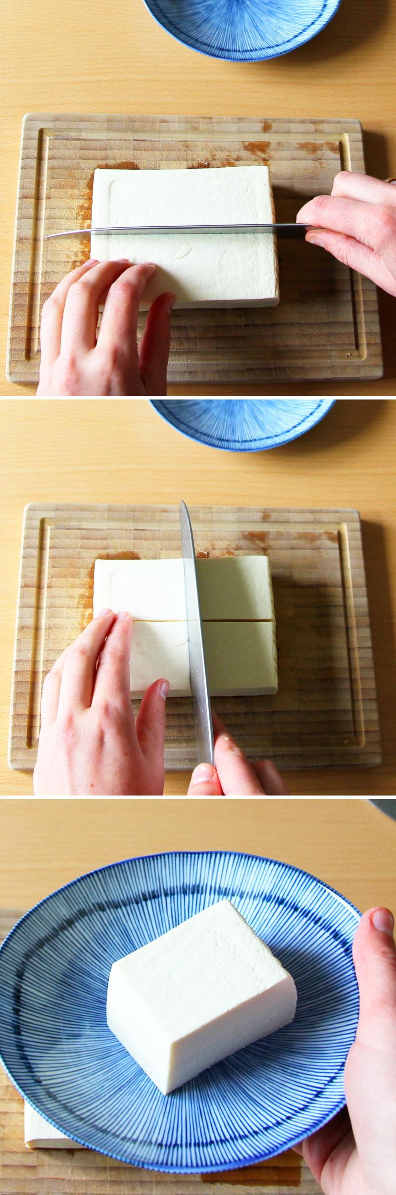 Hiyayakko Schritt 5 Tofu schneiden