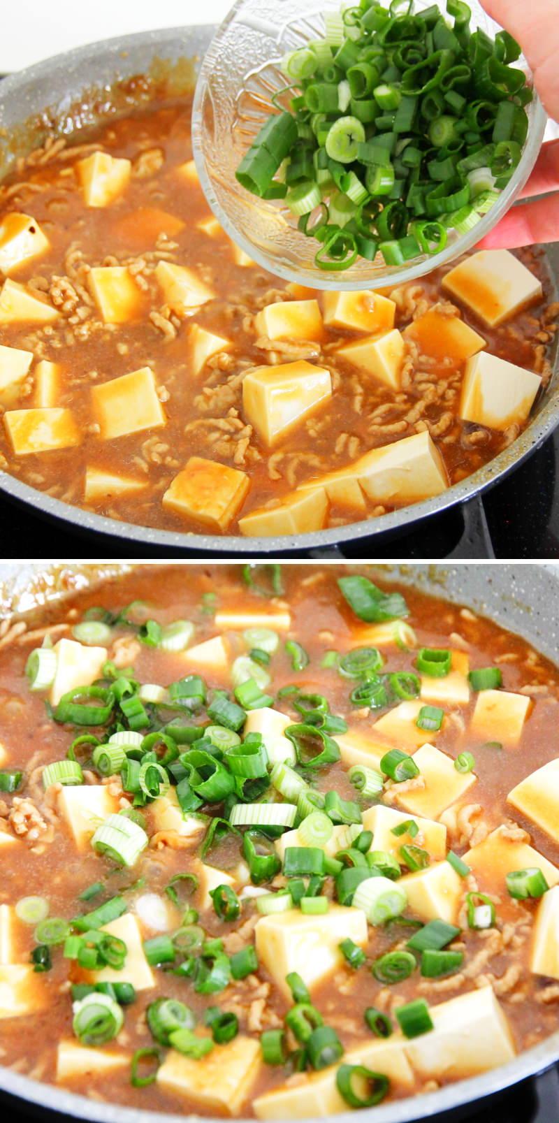 Mapo Tofu Schritt 11 Frühlingszwiebeln dazugeben