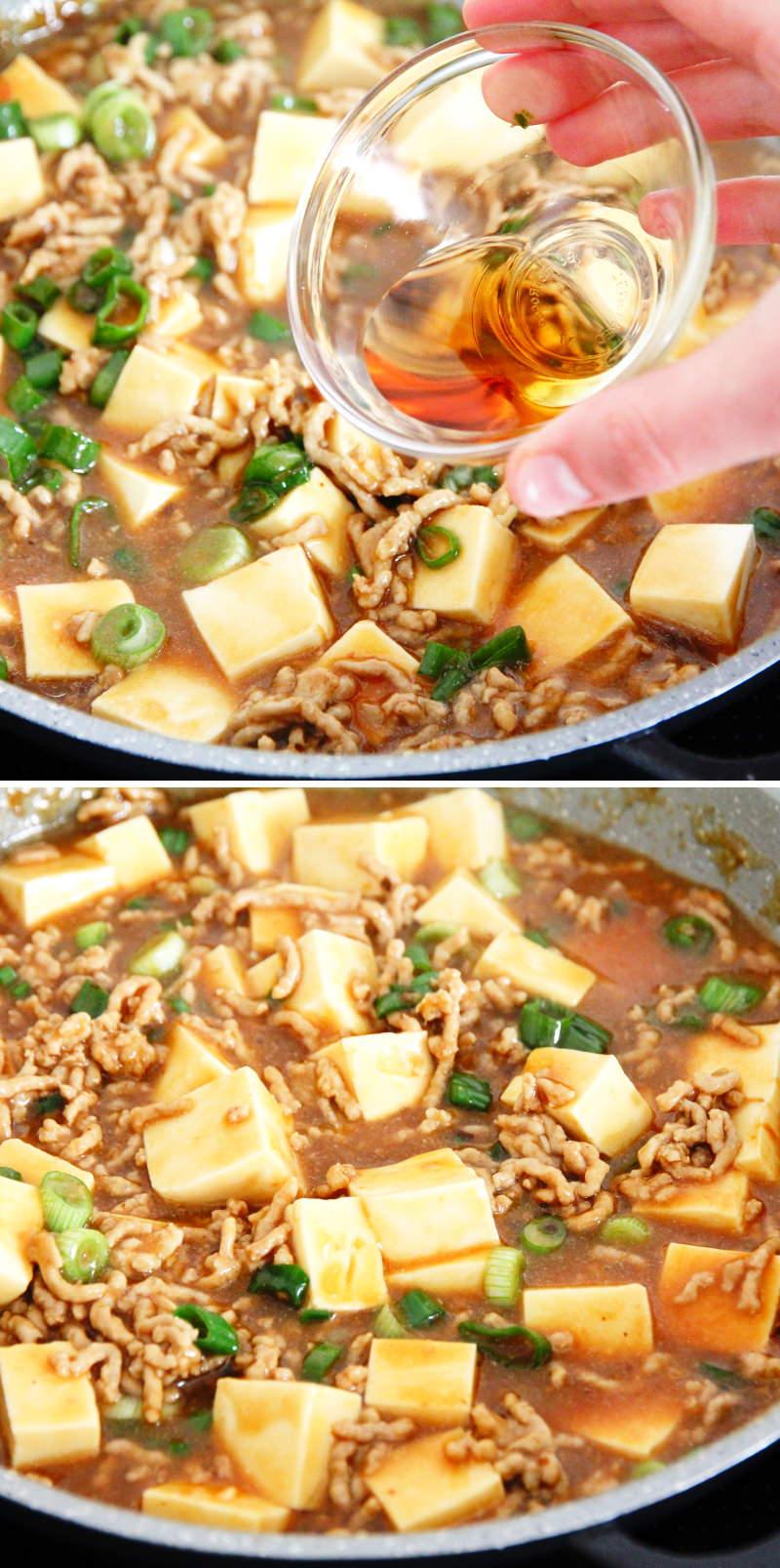 Mapo Tofu Schritt 12 mit Sesam würzen