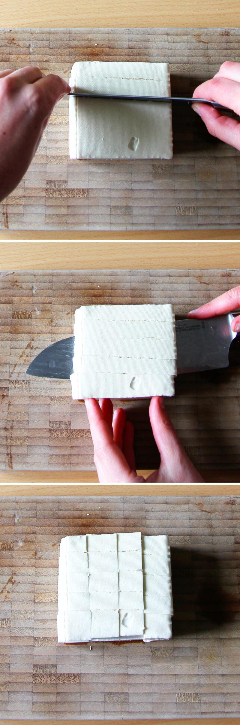 Mapo Tofu Schritt 2 Tofu schneiden