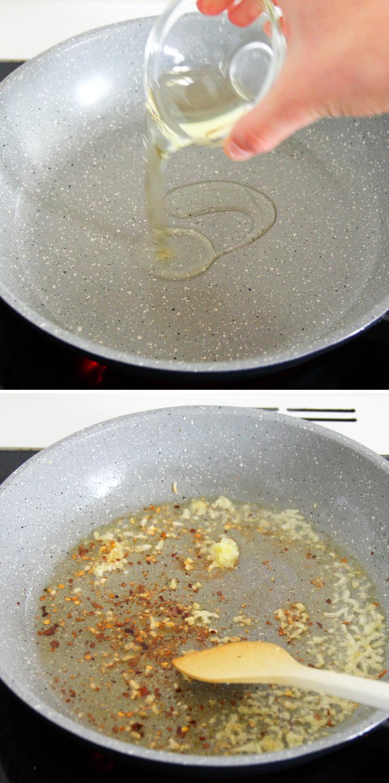 Mapo Tofu Schritt 7 Ingwer, Knoblauch und Chili anbraten