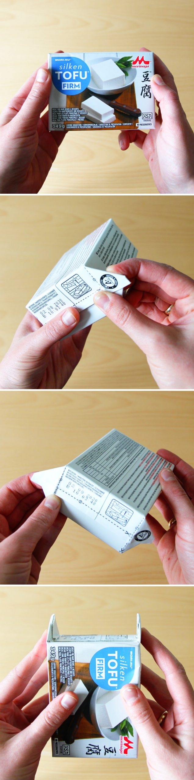 Tofu Verpackung öffnen Schritt 1