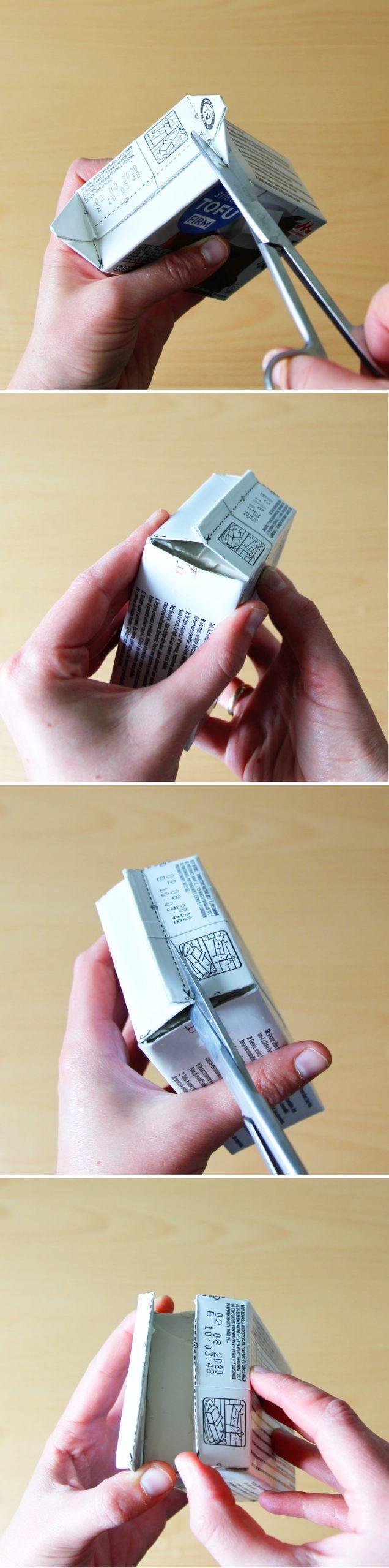Tofu Verpackung öffnen Schritt 2