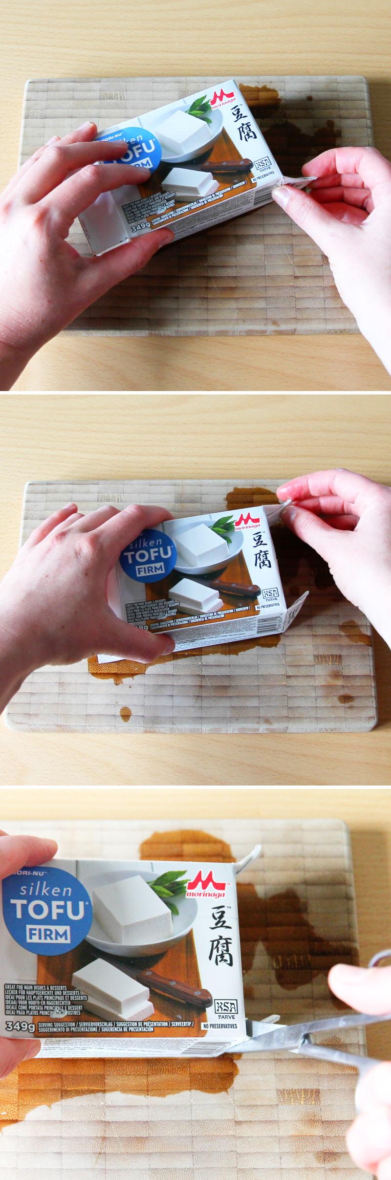 Tofu Verpackung öffnen Schritt 3