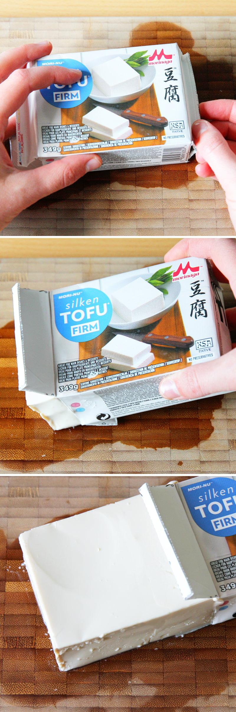 Tofu Verpackung öffnen Schritt 4