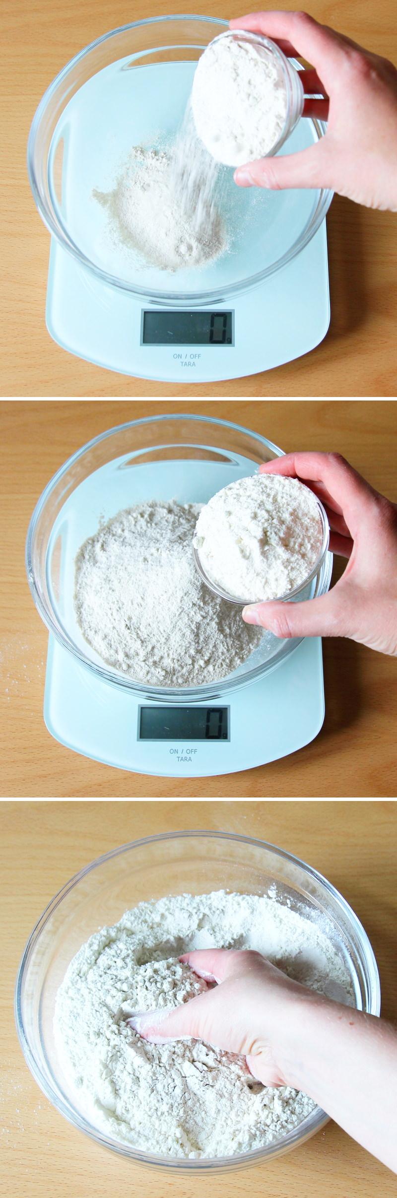 Soba Nudeln selbst machen Schritt 2 Mehl vermischen