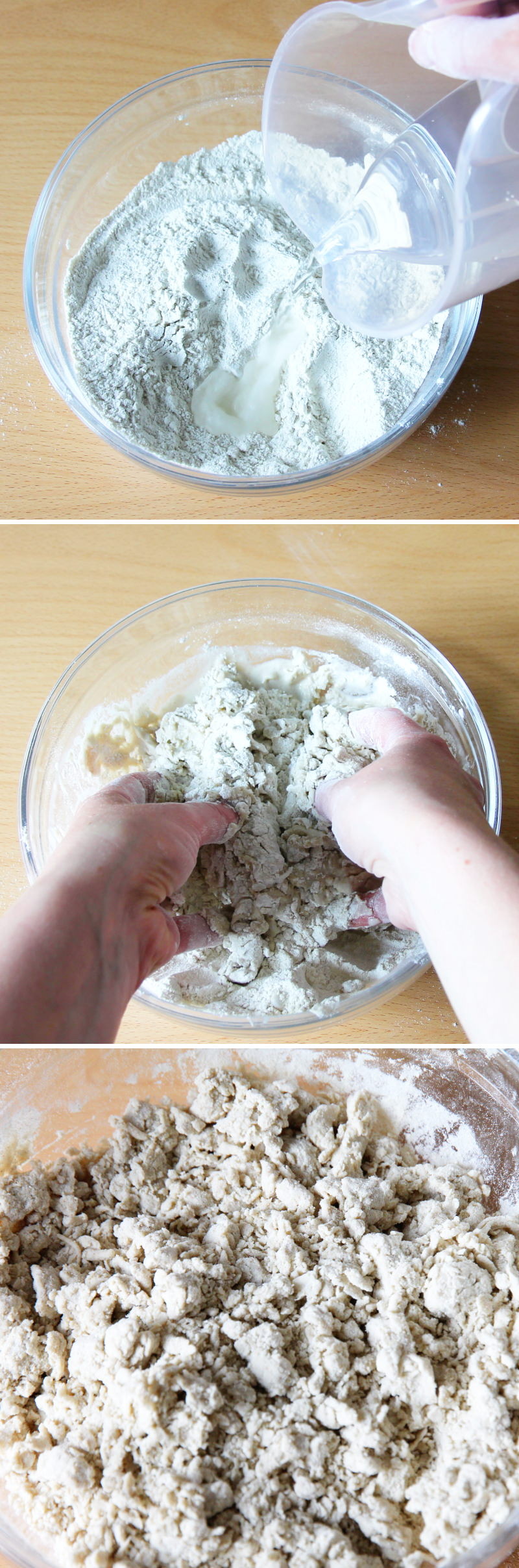 Soba Nudeln selbst machen Schritt 3 Teig vermischen