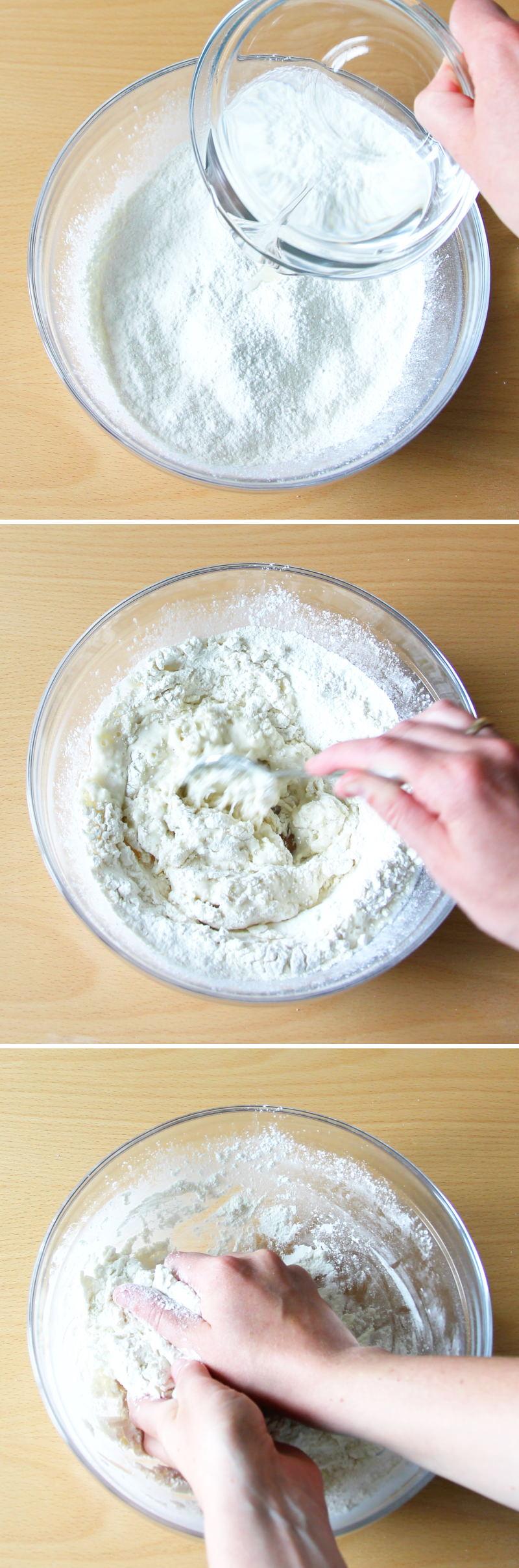 Gyoza Blätter Schritt 4 Mehl mit Wasser vermischen