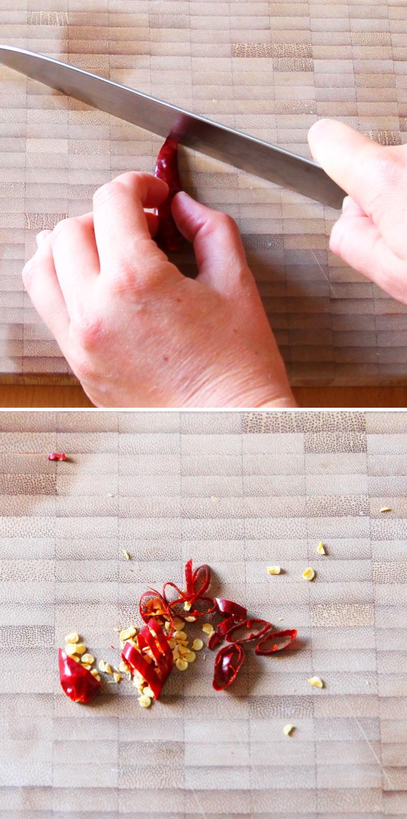 Asari no Sakamushi Schritt 5 Chili schneiden