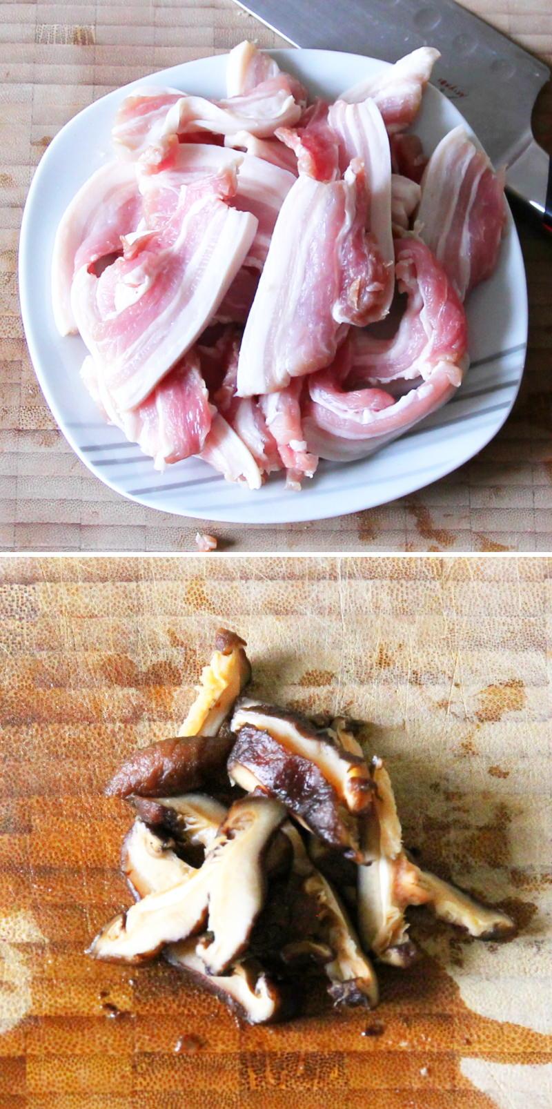 Yakisoba Schritt 5 Fleisch und Shiitake vorbereiten
