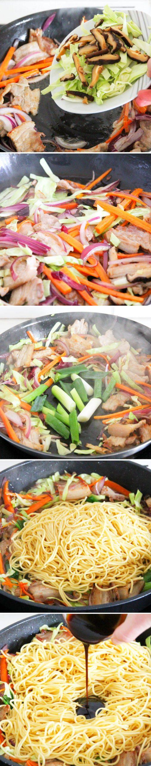 Yakisoba Schritt 9 Gemüse anbraten und mit Yakisoba Sauce ablöschen