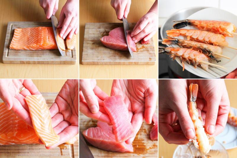 Fisch und Meeresfrüchte für Sushi