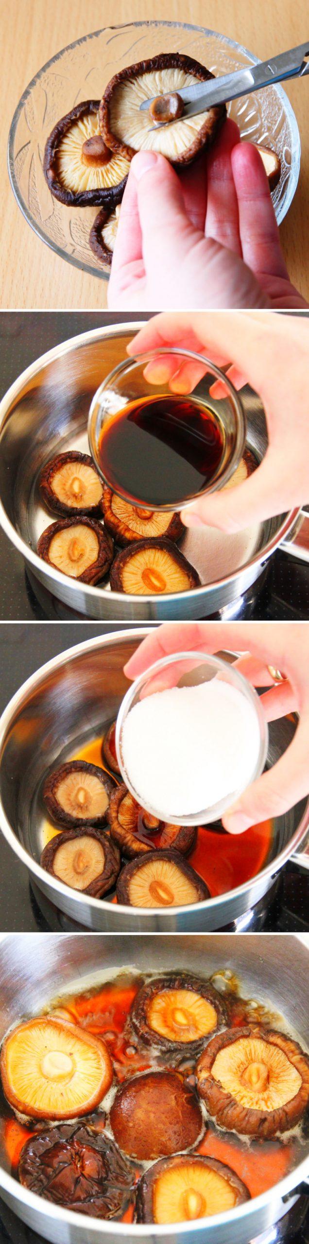 Futomaki Schritt 5 gewürzte Shiitake zubereiten