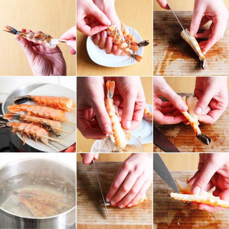 Garnelen für Sushi vorbereiten