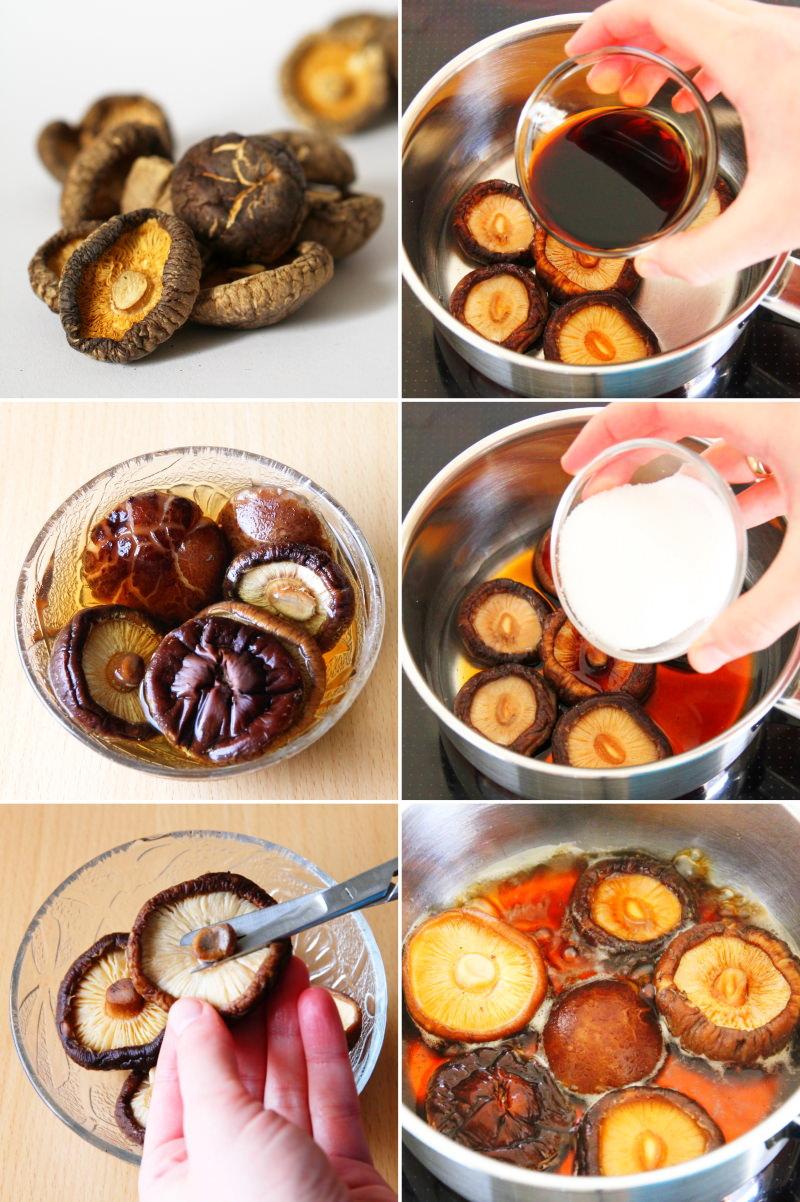 Gewürzte Shiitake Pilze für Sushi zubereiten