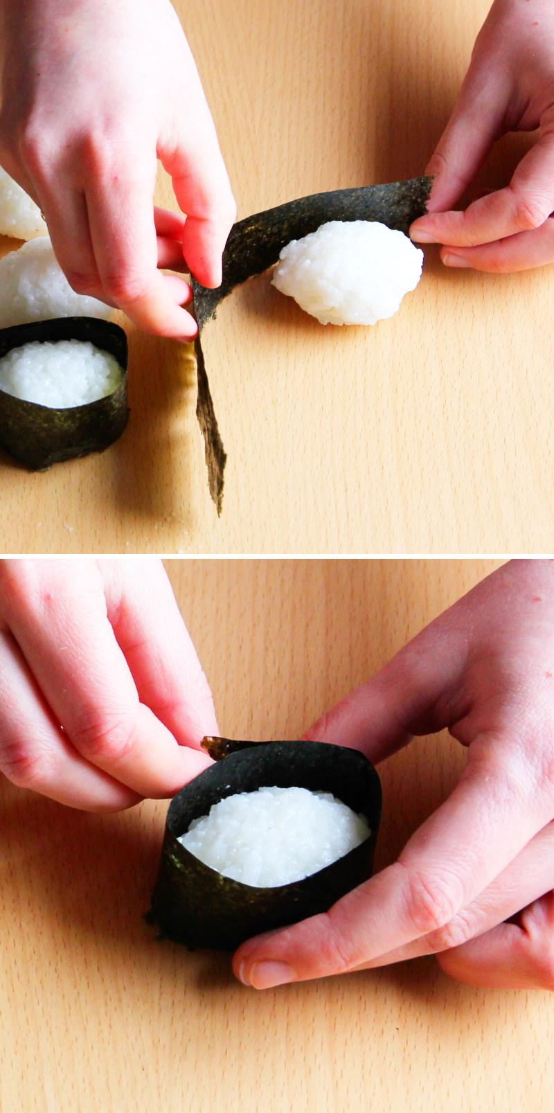 Gunkan Schritt 6 Nori mit Reis umwickeln