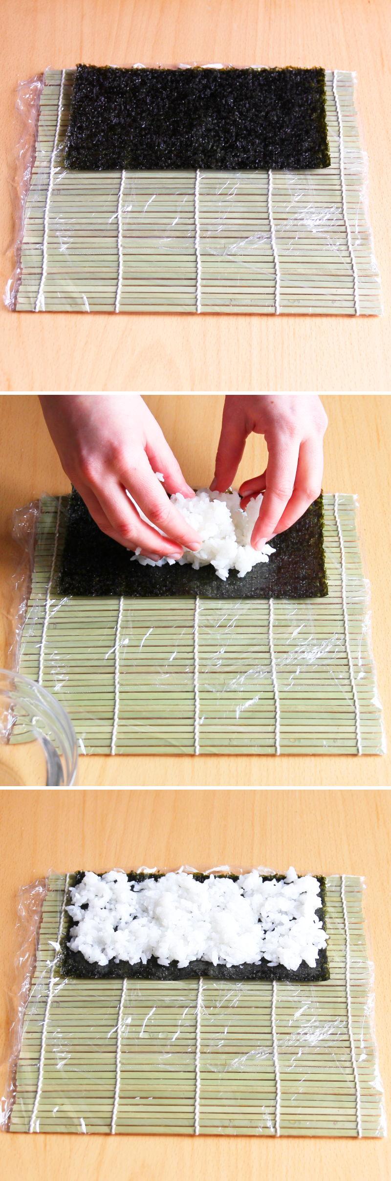 Hosomaki Schritt 6 Sushi-Reis verteilen