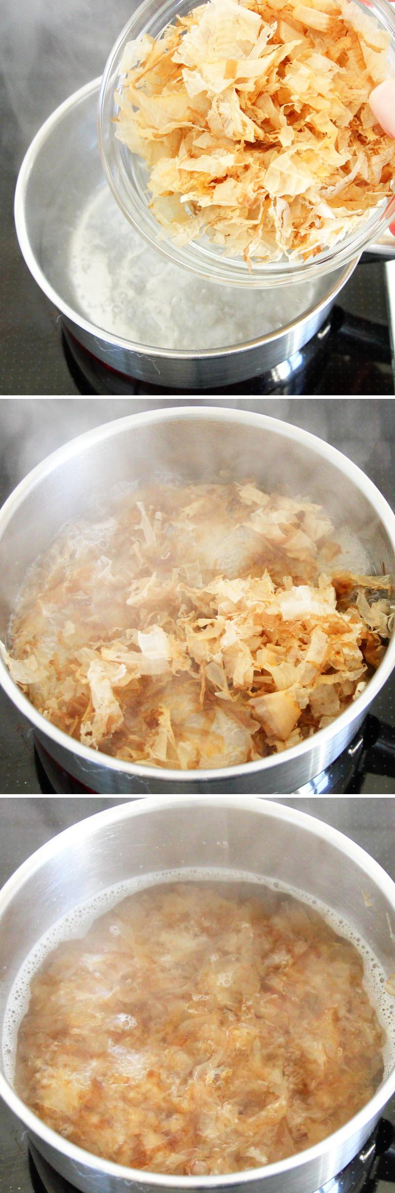 Miso-Suppe mit 3 Zutaten Schritt 2 Brühe kochen